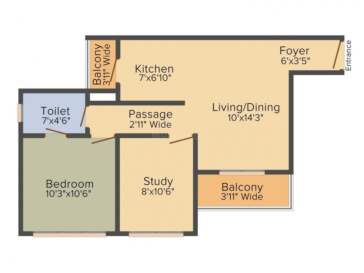 Signature Global The Millennia I Floor Plan: 1 BHK Unit with Built up area of 497 sq.ft 1