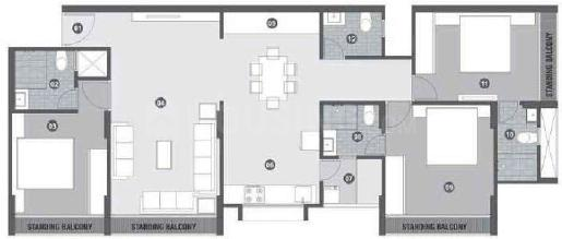 High Line Amir Nasir Floor Plan: 3 BHK Unit with Built up area of 1126 sq.ft 1