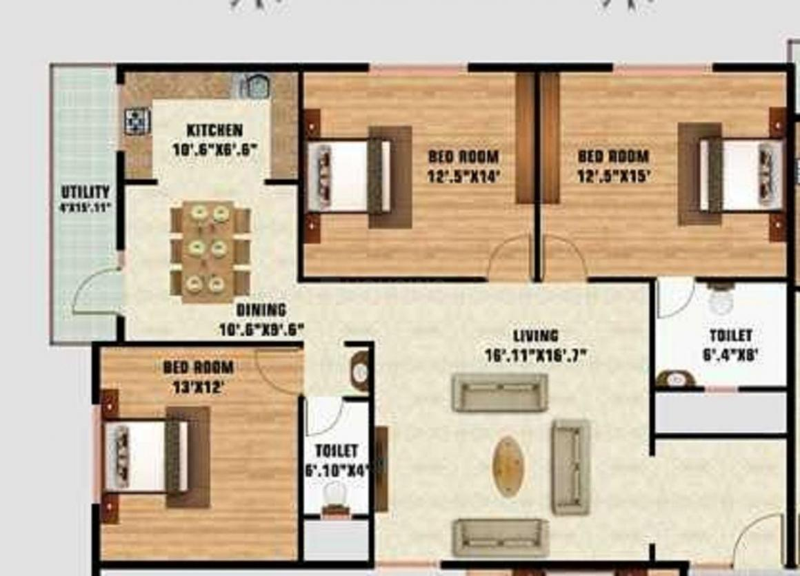 S L V Royal Homes Floor Plan: 3 BHK Unit with Built up area of 1500 sq.ft 1