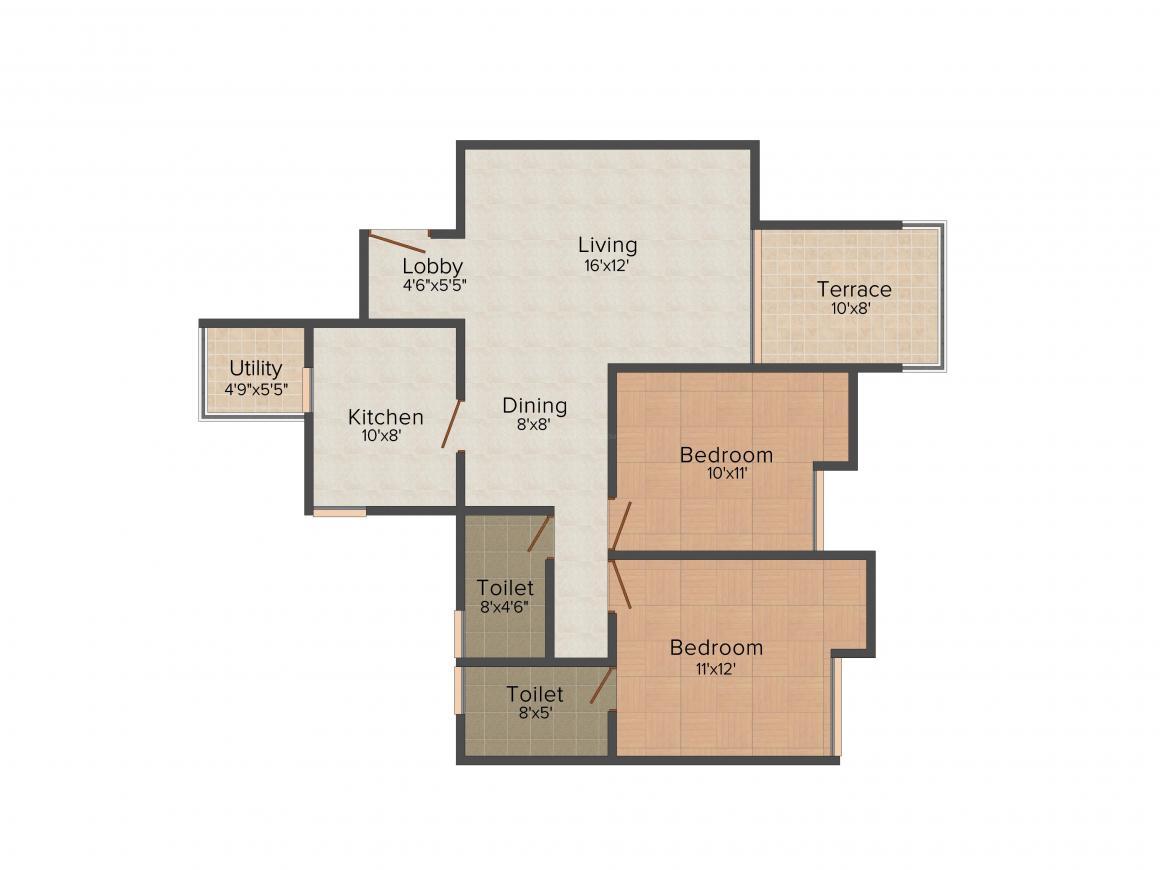 Shriram La Tierra Floor Plan: 2 BHK Unit with Built up area of 1063 sq.ft 1