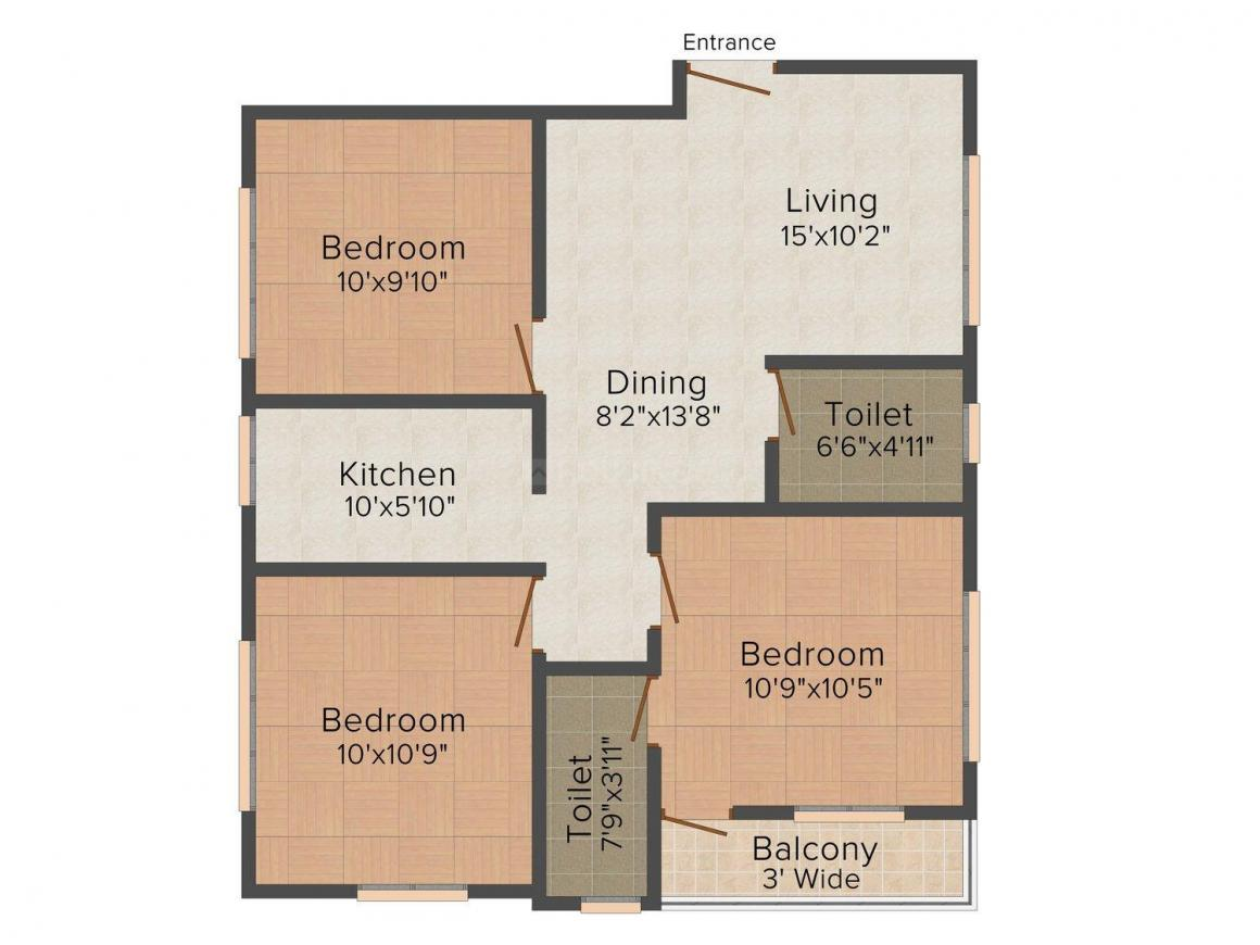 Floor Plan Image of 1021.0 - 1154.0 Sq.ft 3 BHK Apartment for buy in Moonlit Heights
