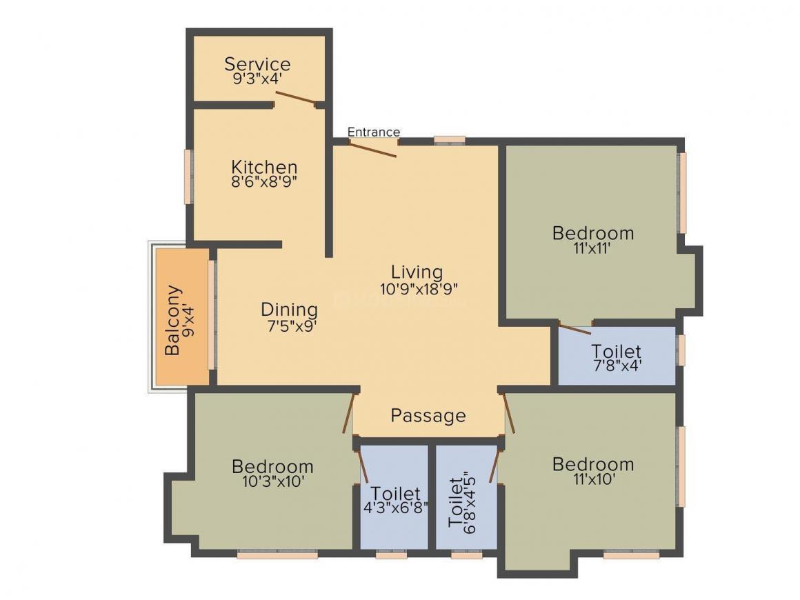 Sri Priya Sai Krishna Floor Plan: 3 BHK Unit with Built up area of 1295 sq.ft 1
