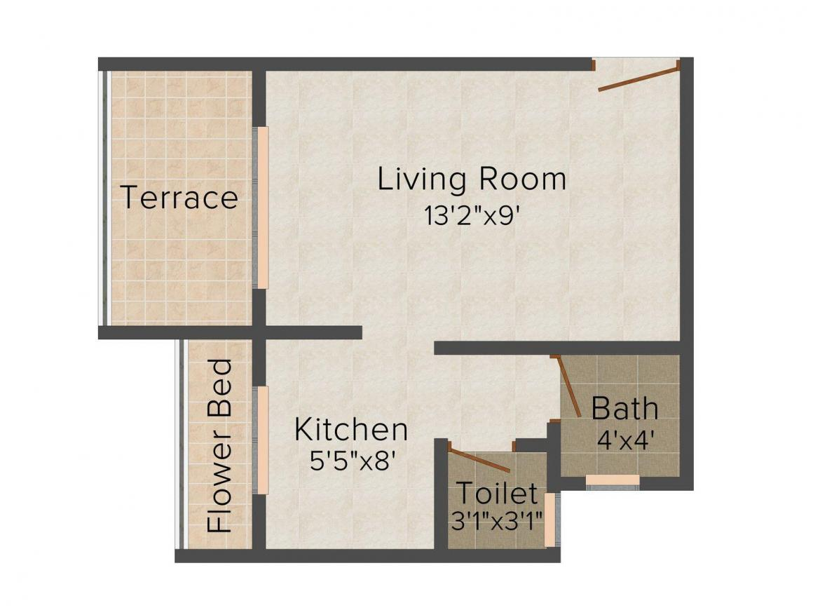 Floor Plan Image of 0 - 475.0 Sq.ft 1 BHK Apartment for buy in Shiv Mahima