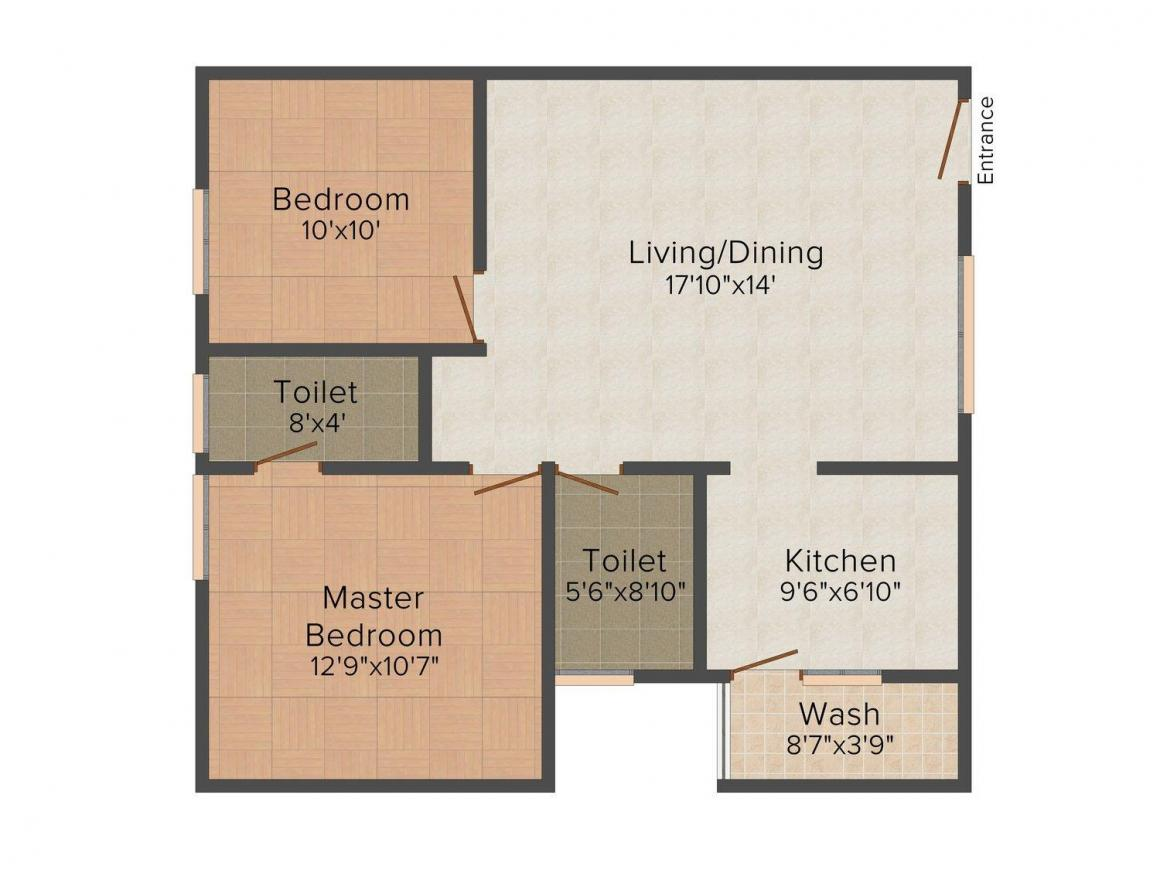 Floor Plan Image of 934.0 - 1074.0 Sq.ft 2 BHK Apartment for buy in Thipparthi Constructions