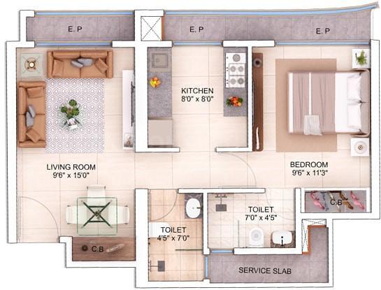 Mahavir Spring Floor Plan: 1 BHK Unit with Built up area of 470 sq.ft 1