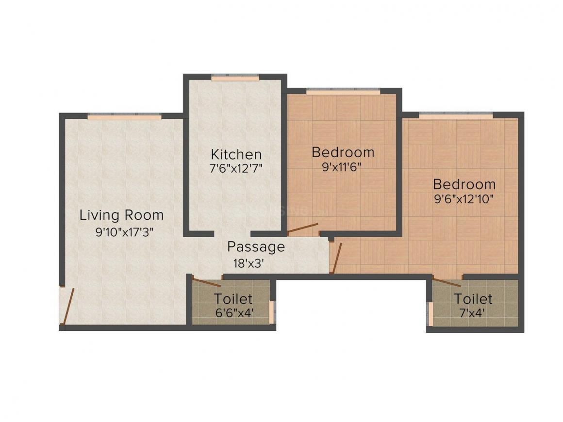 Floor Plan Image of 603.0 - 641.0 Sq.ft 2 BHK Apartment for buy in Kabra Paradise