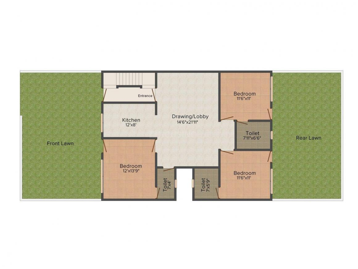 Aggarwal Homes - 1 Floor Plan: 3 BHK Unit with Built up area of 1750 sq.ft 1