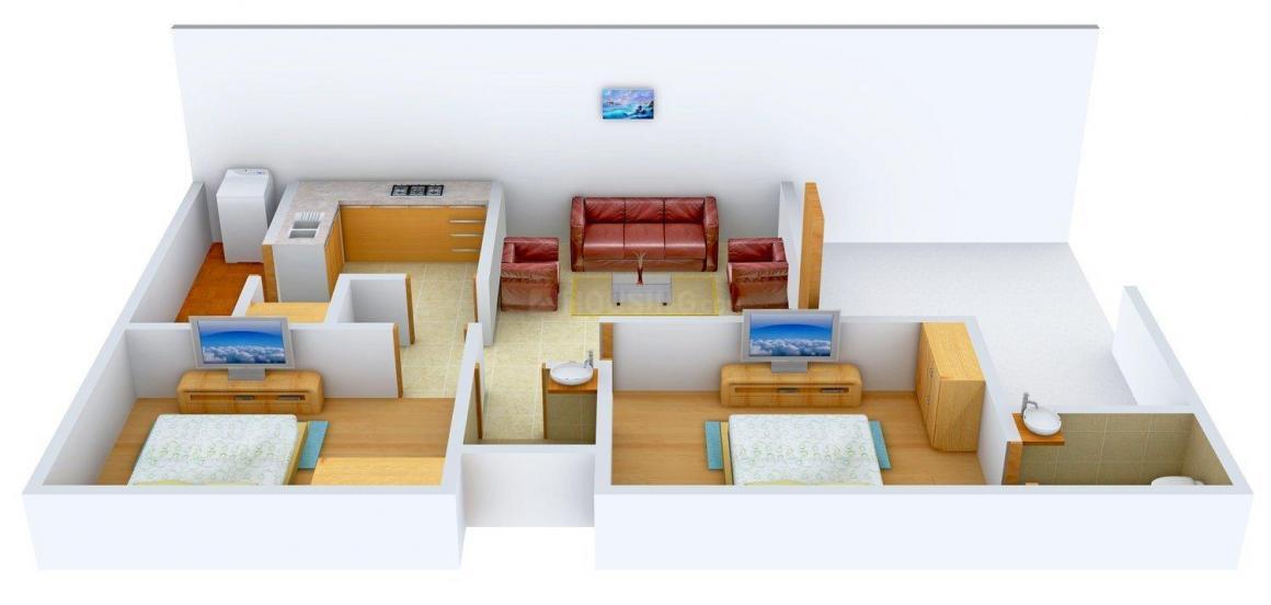 Bajaj R K Homes Floor Plan: 2 BHK Unit with Built up area of 900 sq.ft 1