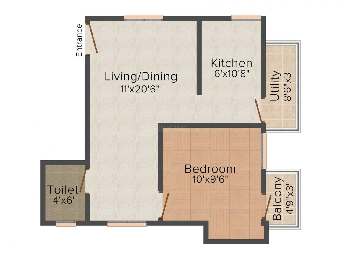 Floor Plan Image of 336.0 - 598.0 Sq.ft 1 BHK Apartment for buy in Property Expert Homes 2