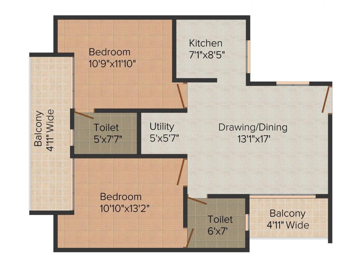 Neesu Heritage Avenue Floor Plan: 2 BHK Unit with Built up area of 1120 sq.ft 1