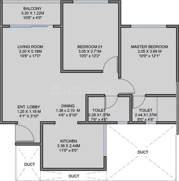 K Town Floor Plan: 2 BHK Unit with Built up area of 694 sq.ft 1