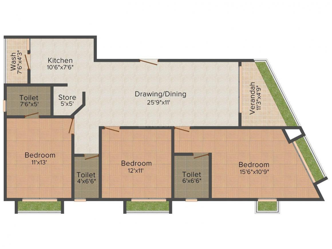 Purohit Sopan Life Style Floor Plan: 3 BHK Unit with Built up area of 1800 sq.ft 1