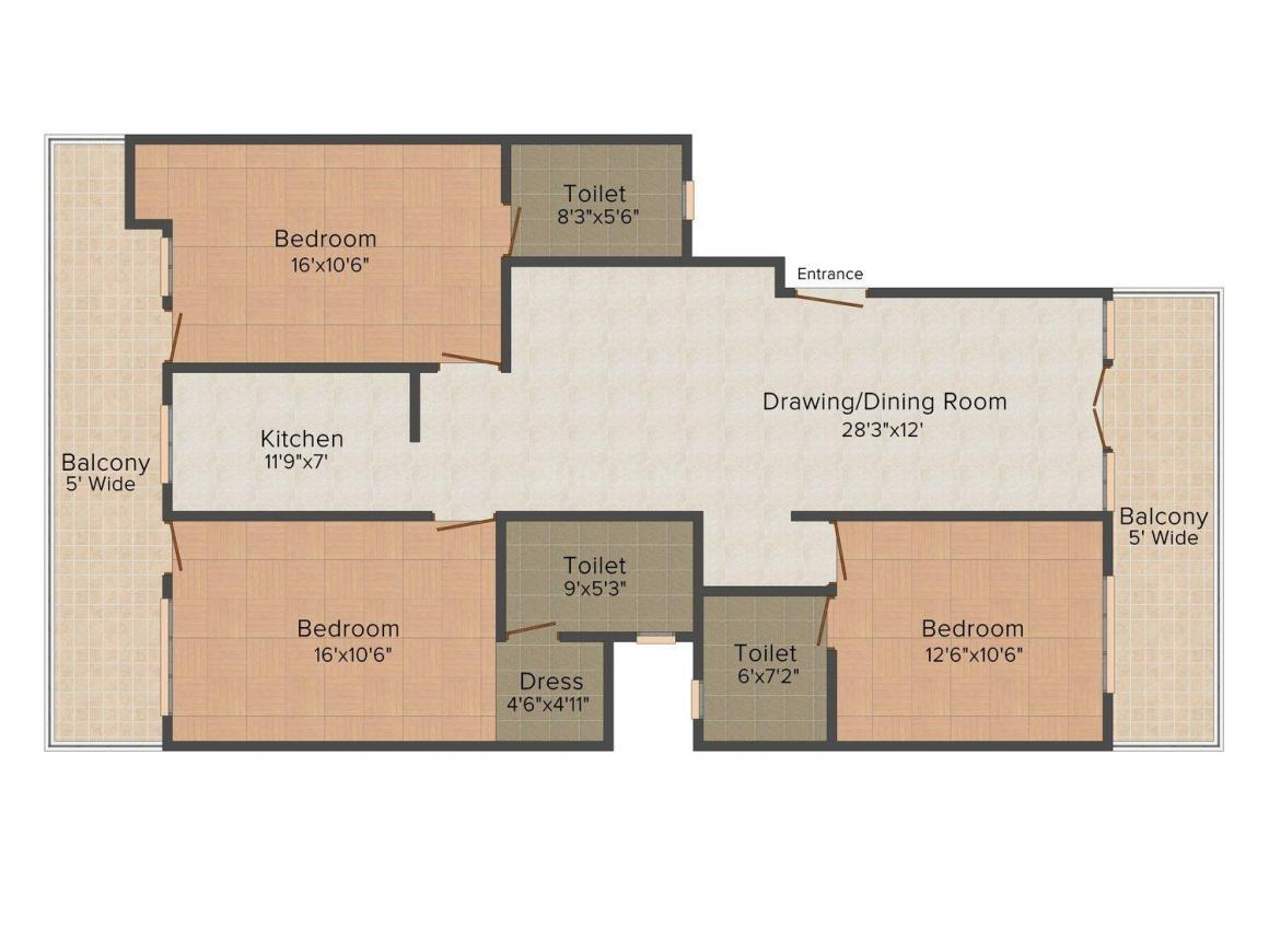 Floor Plan Image of 0 - 2160 Sq.ft 3 BHK Independent Floor for buy in Allure Floors 16