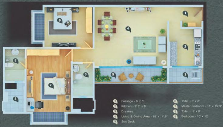 Atul Wallace Fortuna Floor Plan: 2 BHK Unit with Built up area of 1250 sq.ft 1