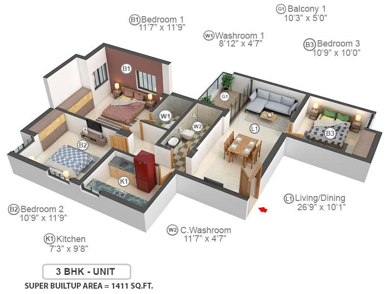 Greenwood Nest Floor Plan: 3 BHK Unit with Built up area of 1411 sq.ft 1
