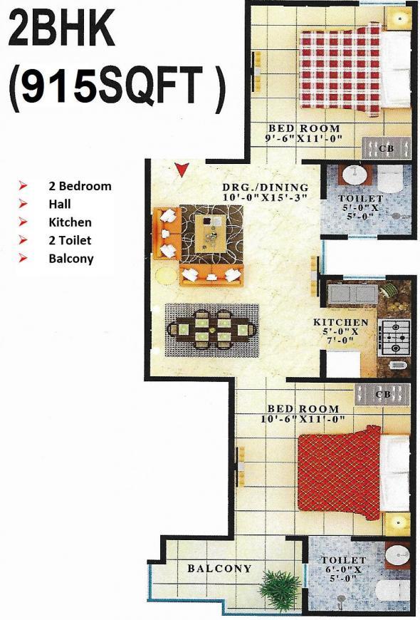 Gayatri Vatika Floor Plan: 2 BHK Unit with Built up area of 915 sq.ft 1
