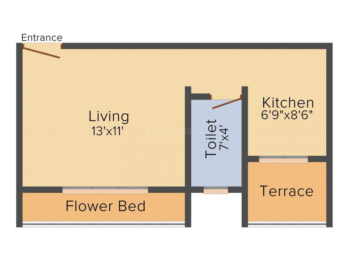 Floor Plan Image of 480 - 635 Sq.ft 1 RK Apartment for buy in Jalaram Residency