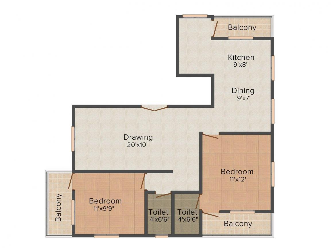Floor Plan Image of 0 - 880.0 Sq.ft 2 BHK Apartment for buy in  Kosher Classic