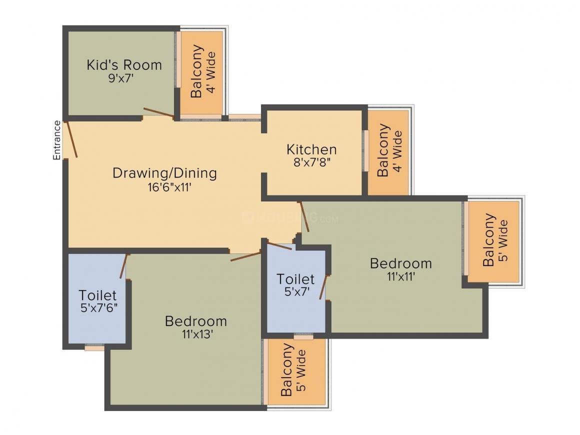 Balaji Vivaan Floor Plan: 3 BHK Unit with Built up area of 1200 sq.ft 1