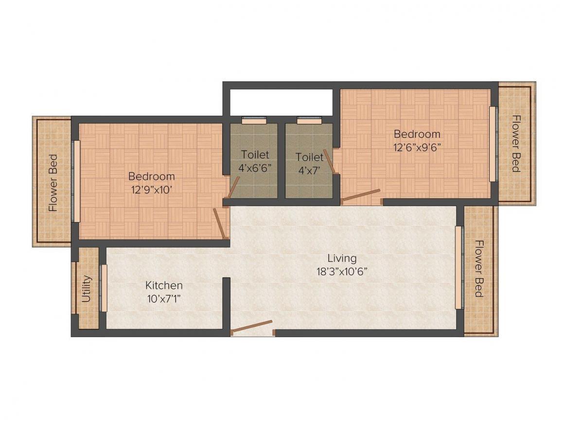Floor Plan Image of 715.0 - 1240.0 Sq.ft 1 BHK Apartment for buy in Kamanwala Manavsthal