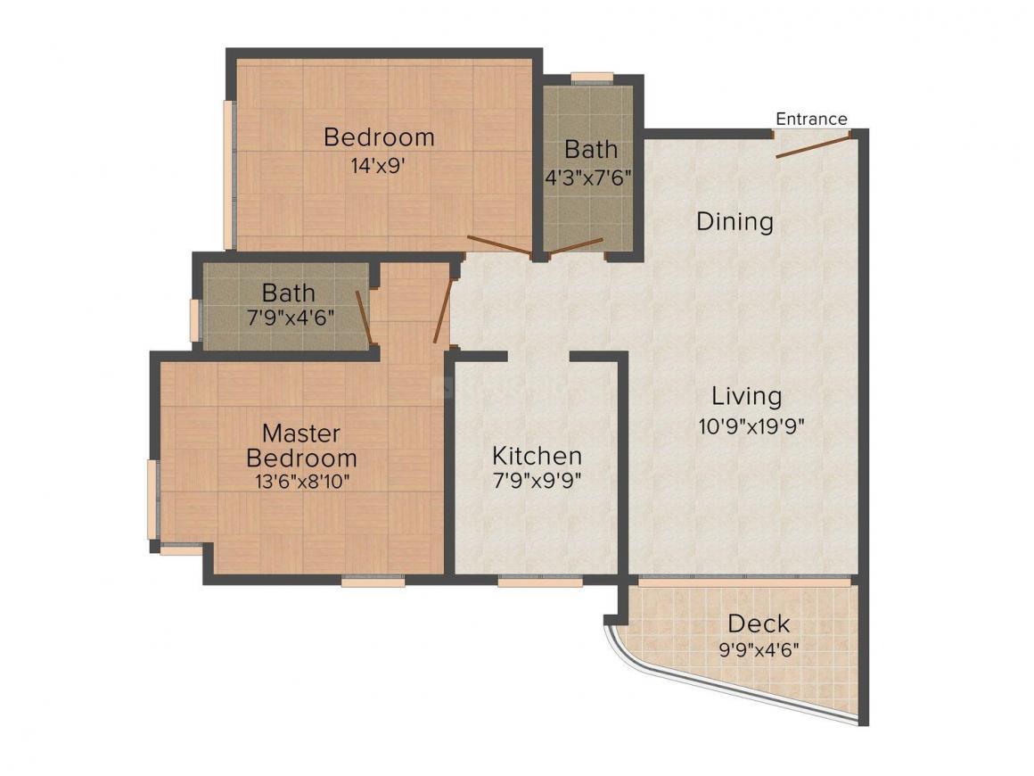 Floor Plan Image of 675 - 1005 Sq.ft 2 BHK Apartment for buy in Rizvi Gardens