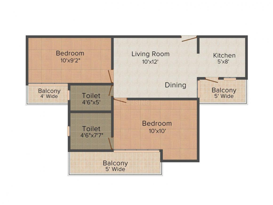 Keltech Rize Floor Plan: 2 BHK Unit with Built up area of 875 sq.ft 1