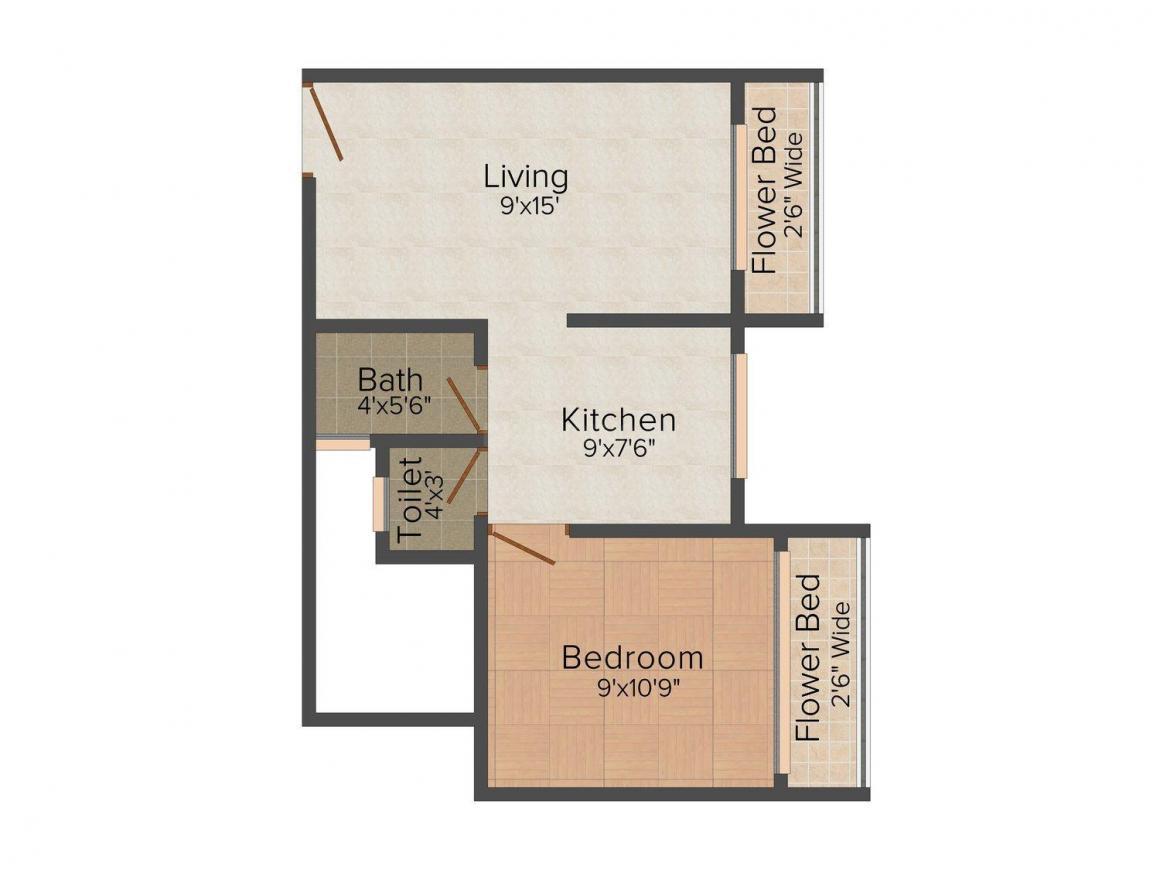 Floor Plan Image of 505.0 - 780.0 Sq.ft 1 BHK Apartment for buy in Prathmesh Sai Yash Complex