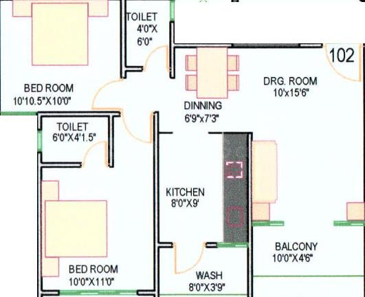 Shilaj Residency Floor Plan: 2 BHK Unit with Built up area of 621 sq.ft 1