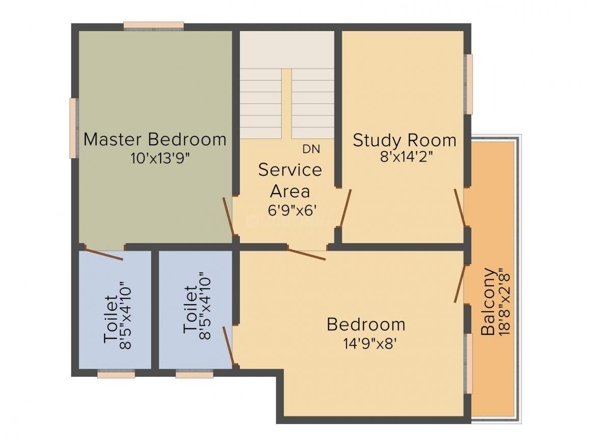 Floor Plan Image of 620.0 - 1900.0 Sq.ft 1 BHK Villa for buy in Dhanam Green Villas