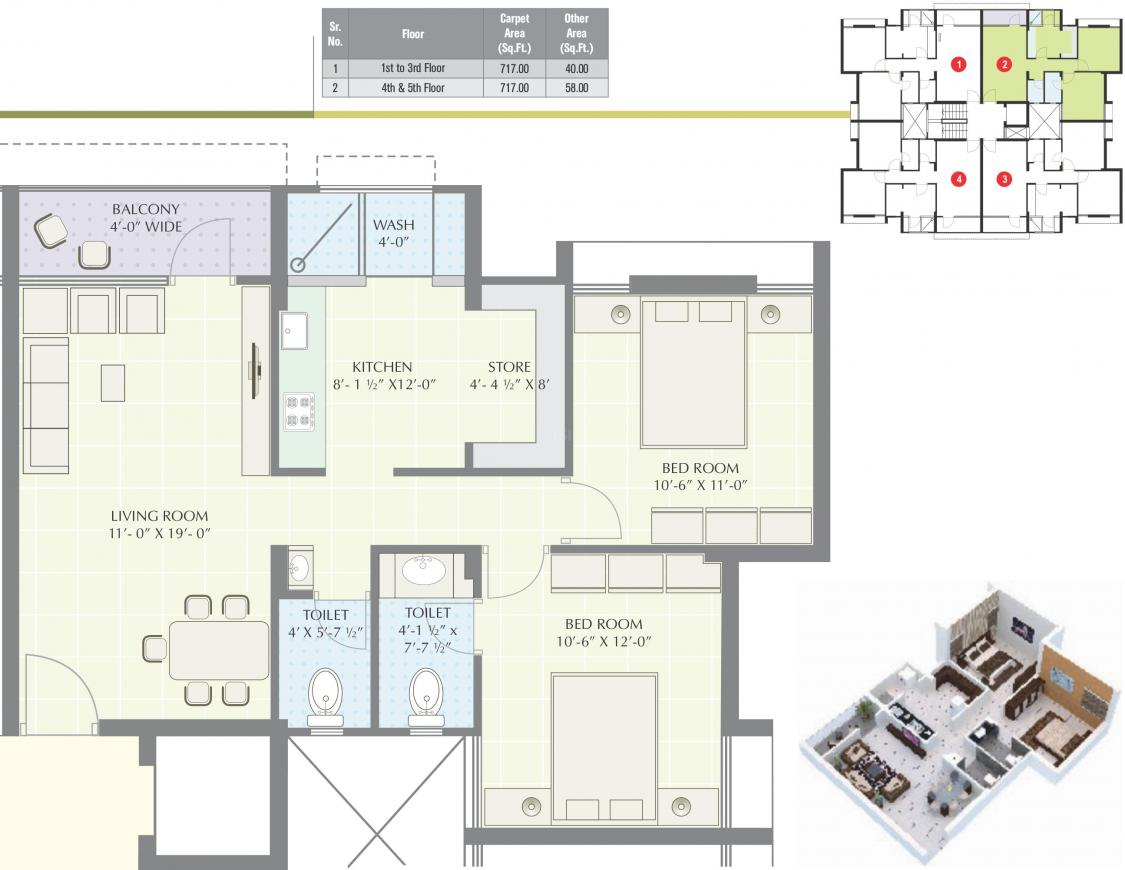 Mangla Greens Floor Plan: 2 BHK Unit with Built up area of 757 sq.ft 1