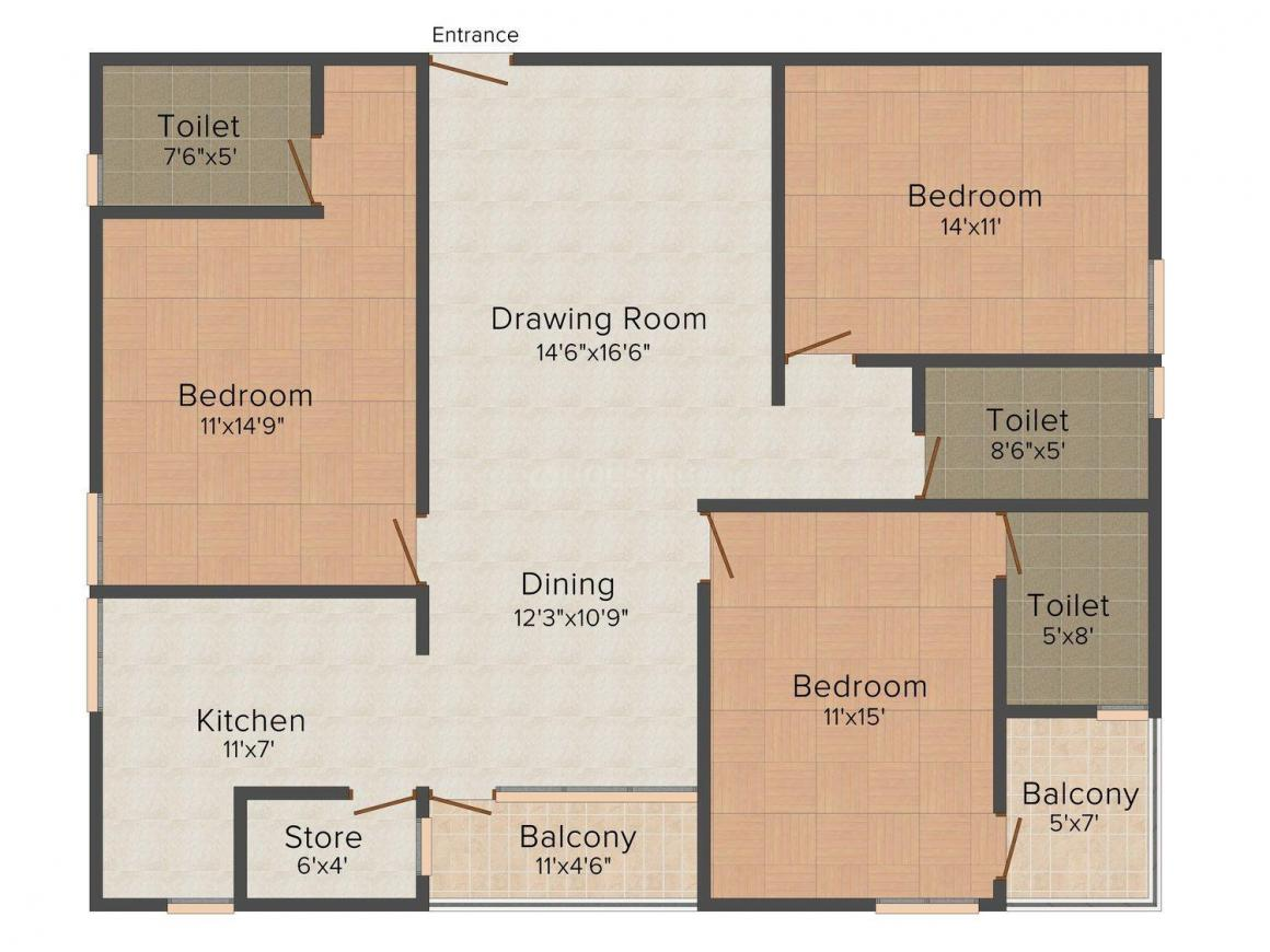 Floor Plan Image of 1103 - 2993 Sq.ft 2 BHK Apartment for buy in Manglam Metropolis