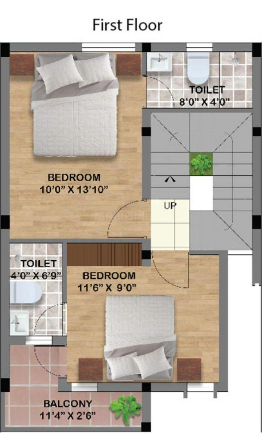 S And P Signature Villas Floor Plan: 2 BHK Unit with Built up area of 1182 sq.ft 1