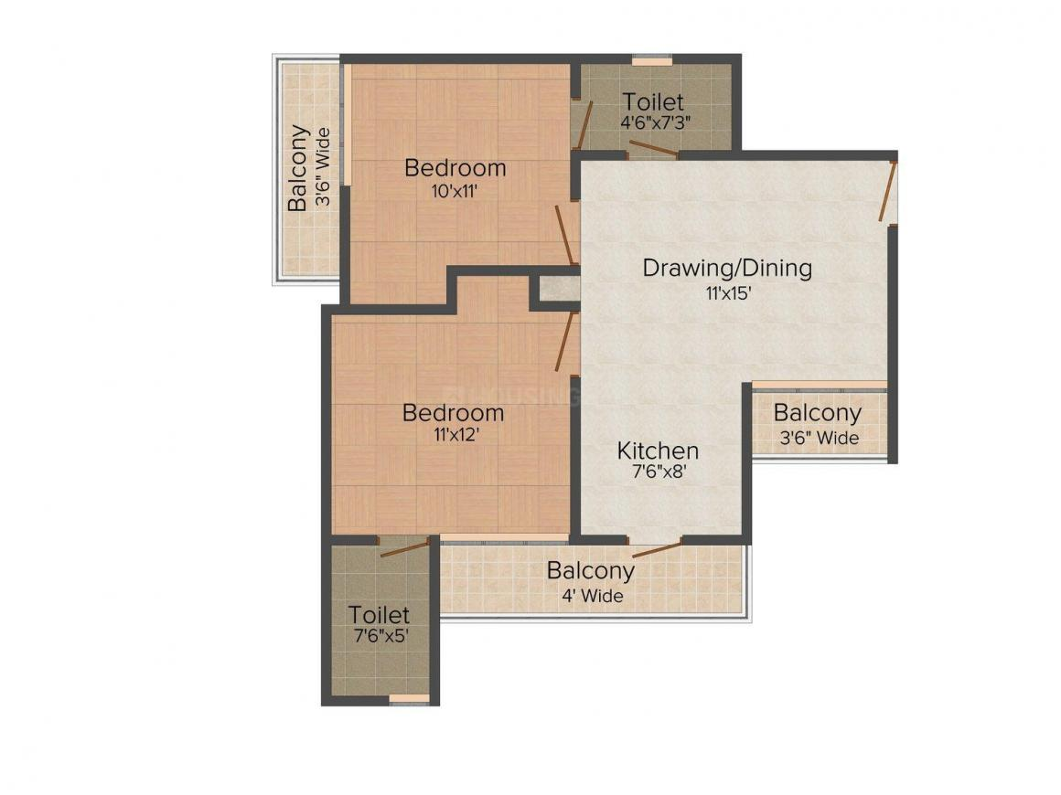 Floor Plan Image of 950.0 - 2950.0 Sq.ft 2 BHK Apartment for buy in Gardenia Glory
