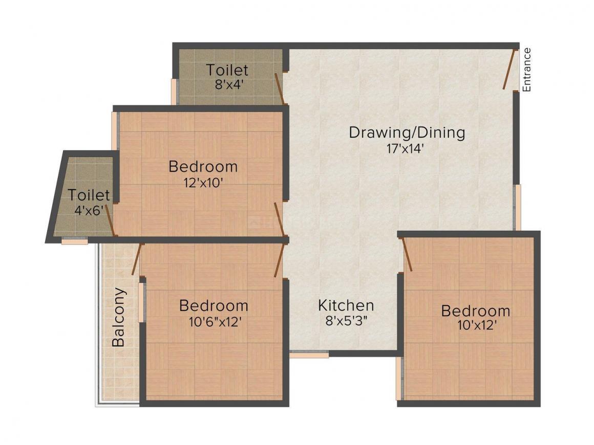 Floor Plan Image of 0 - 1150.0 Sq.ft 3 BHK Independent Floor for buy in J L Builders 1
