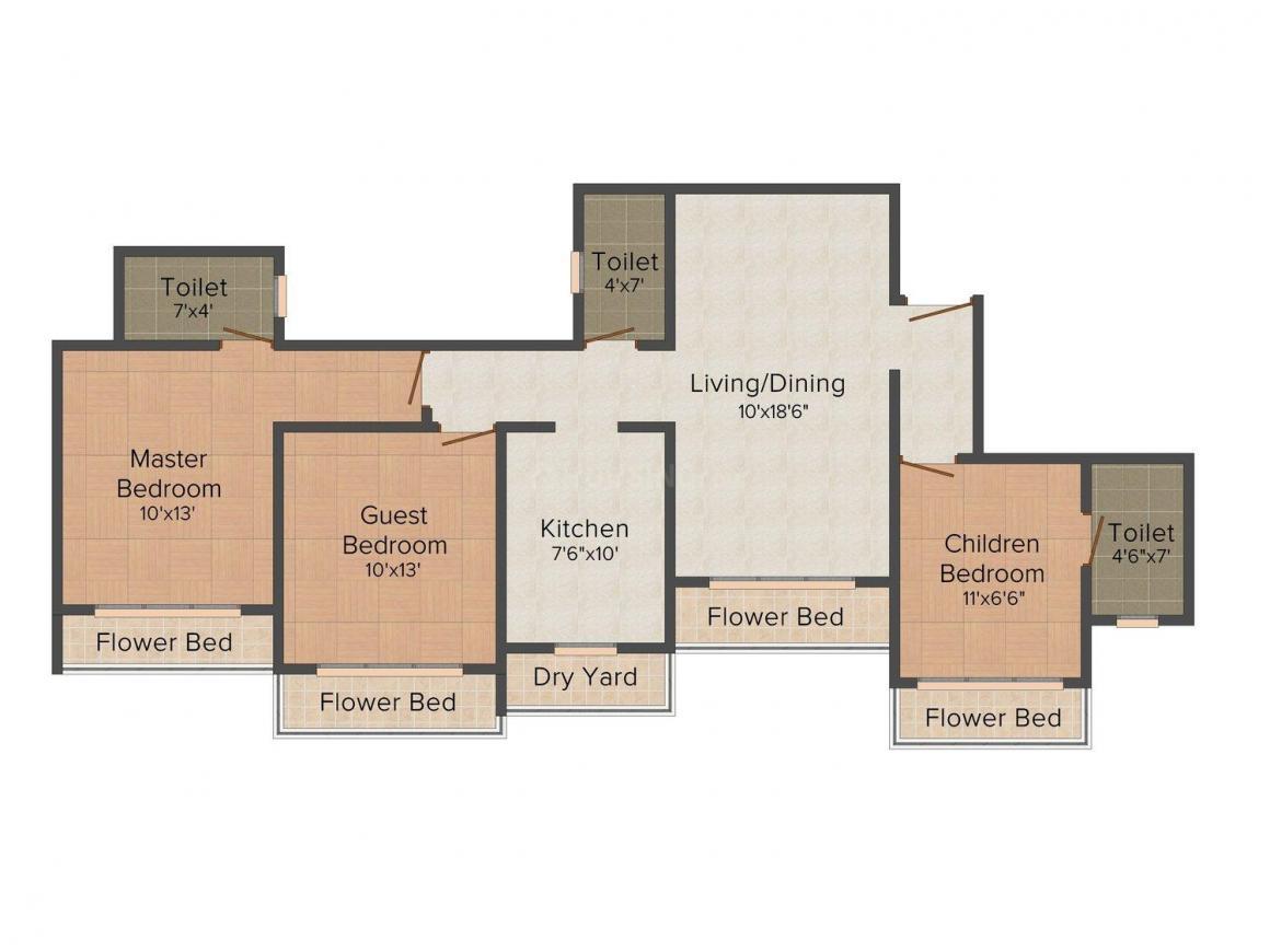 Bhoomi Ekta Garden Phase III Floor Plan: 3 BHK Unit with Built up area of 1665 sq.ft 1