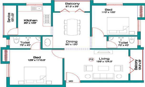 Alankar Rajeshwari Nagar Floor Plan: 2 BHK Unit with Built up area of 970 sq.ft 1