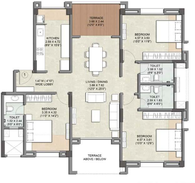 Kalpataru Estate Building 8 Floor Plan: 3 BHK Unit with Built up area of 1114 sq.ft 1