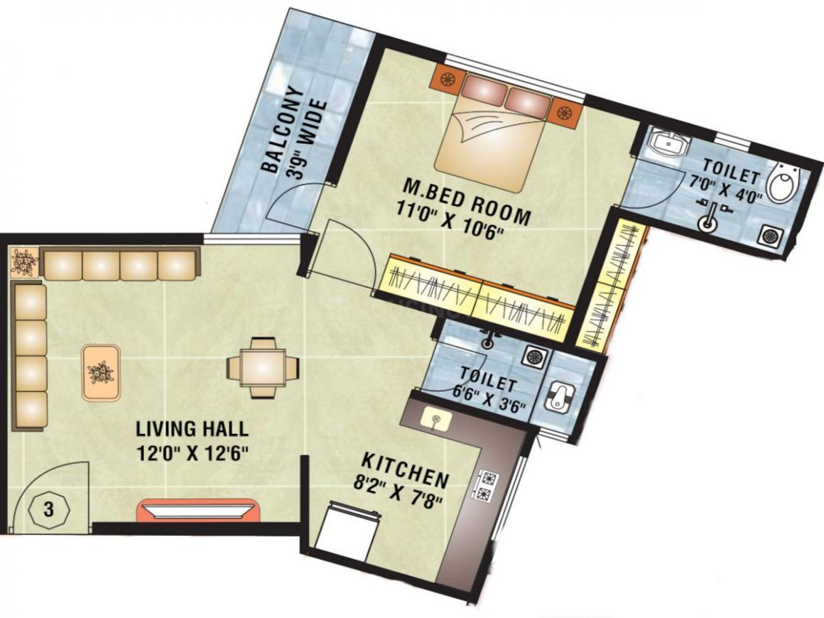 Surya Shree Sai Palace Floor Plan: 1 BHK Unit with Built up area of 405 sq.ft 1