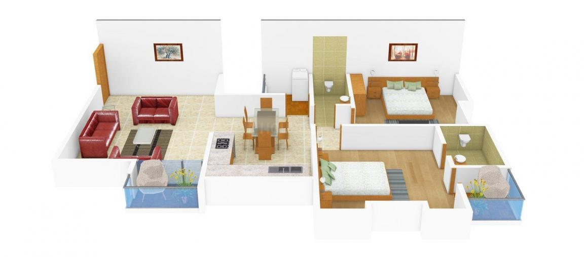 Floor Plan Image of 0 - 1055 Sq.ft 2 BHK Apartment for buy in Shilp Coral Woods