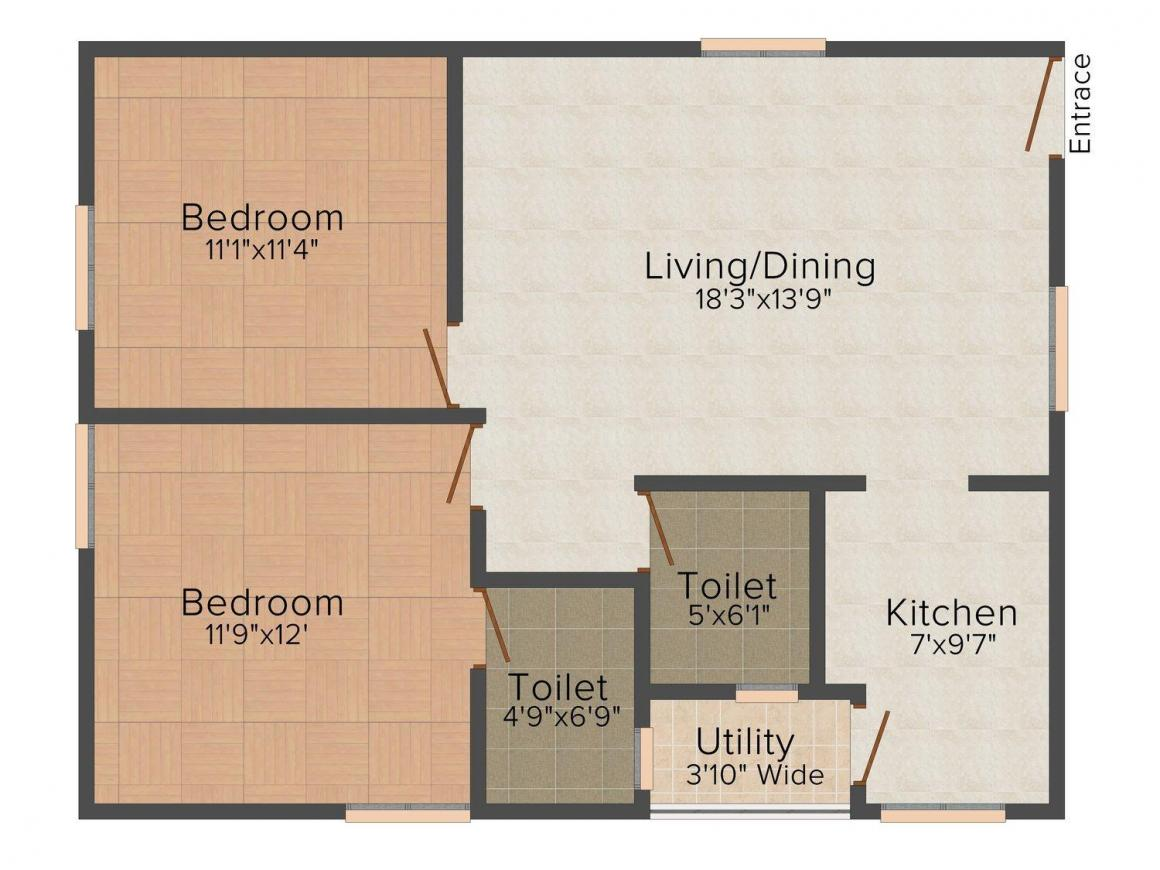 Floor Plan Image of 944 - 1523 Sq.ft 2 BHK Apartment for buy in Thipparthi Fort House at Rock Town