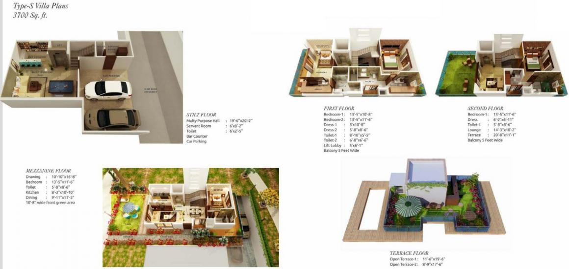 Sun Twilight Floor Plan: 4 BHK Unit with Built up area of 3700 sq.ft 1
