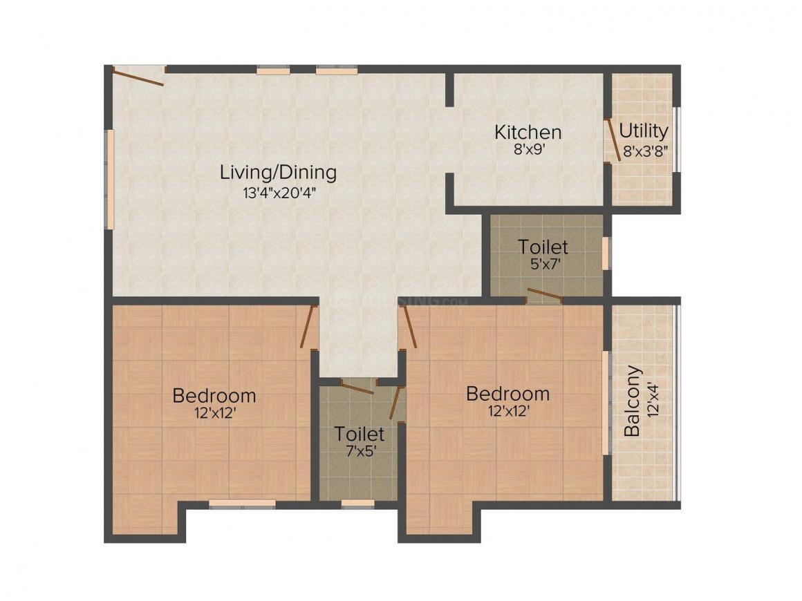 Floor Plan Image of 880 - 1376 Sq.ft 2 BHK Apartment for buy in Sai Sannidhi Whitestone Landmark