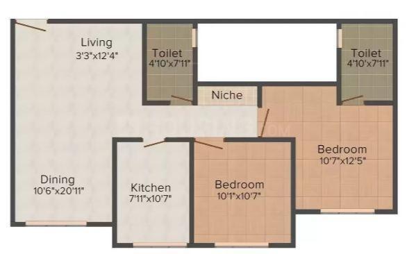 Hiranandani Zen Belicia Floor Plan: 2 BHK Unit with Built up area of 740 sq.ft 1