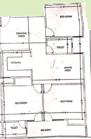 Surendra Sagar Homes 3 Floor Plan: 3 BHK Unit with Built up area of 1350 sq.ft 1