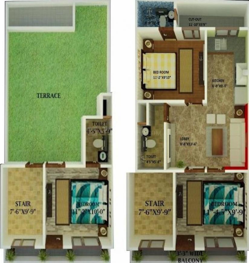 Darsh Krishna Villa Floor Plan: 3 BHK Unit with Built up area of 1100 sq.ft 1