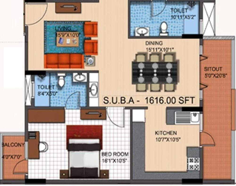 Mahaveer Tranquil Floor Plan: 3 BHK Unit with Built up area of 1616 sq.ft 1