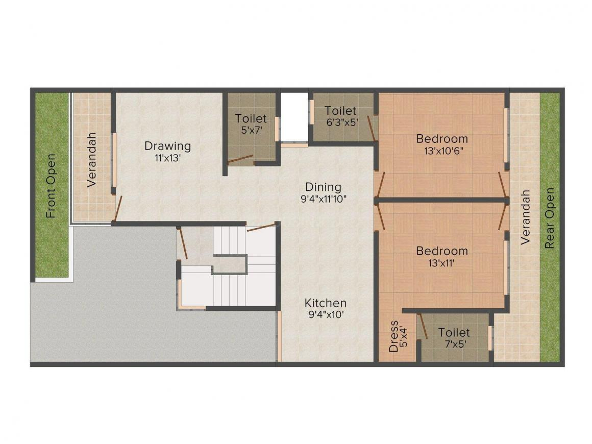 Floor Plan Image of 1455 - 1475 Sq.ft 3 BHK Villa for buy in Servpriya Nature Valley
