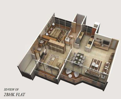 Satyam Imperial Heights Floor Plan: 2 BHK Unit with Built up area of 578 sq.ft 2