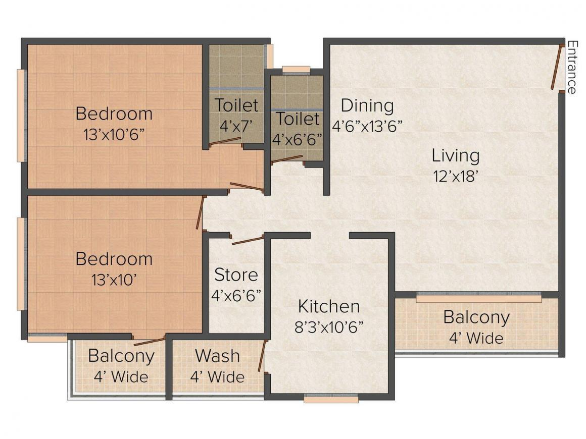 Floor Plan Image of 0 - 900 Sq.ft 2 BHK Apartment for buy in Orion Apartment