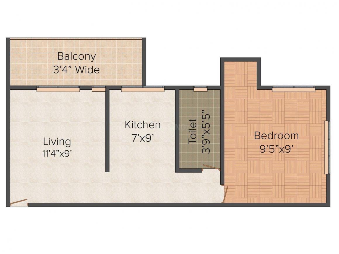Floor Plan Image of 560 - 620 Sq.ft 1 BHK Apartment for buy in Jyoti Gauri Omkar